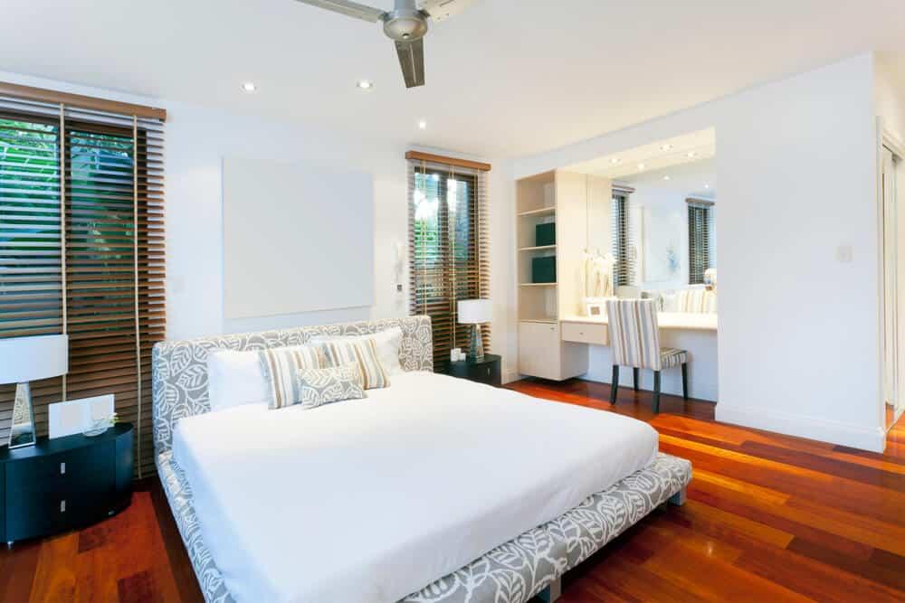 Stylish master bedroom in luxury home