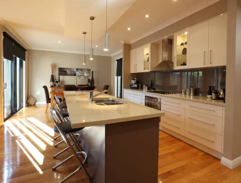 Modern kitchen and dining area, in new family home.