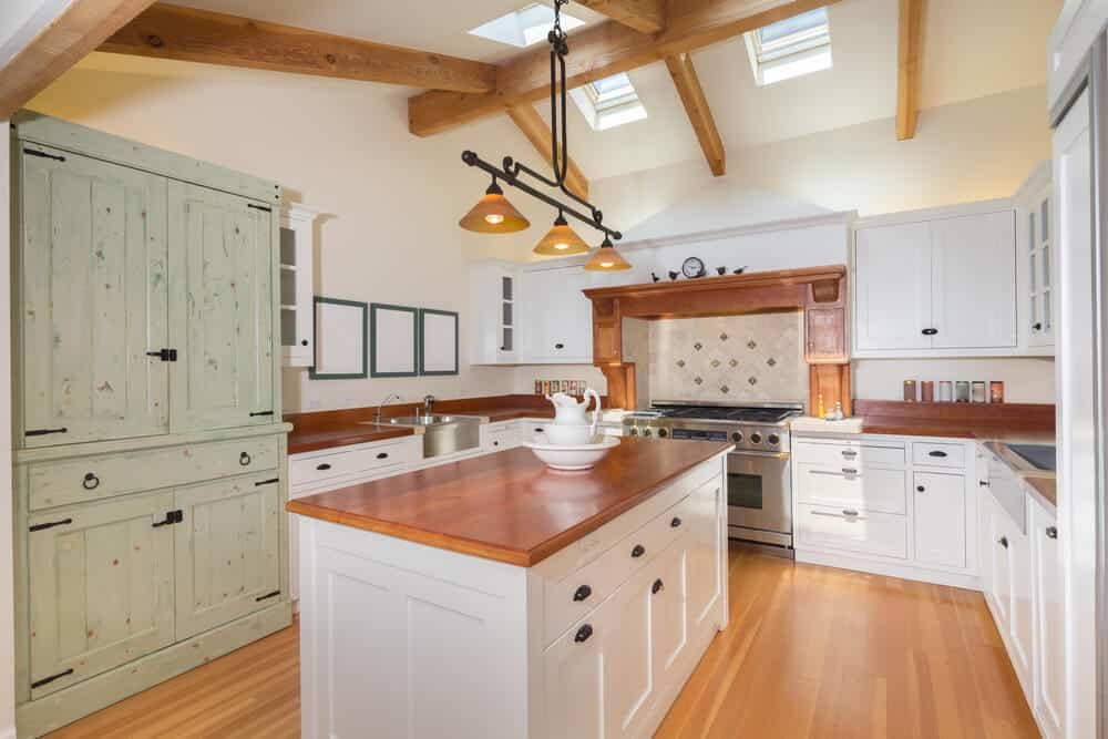 Country Kitchen with wood counters