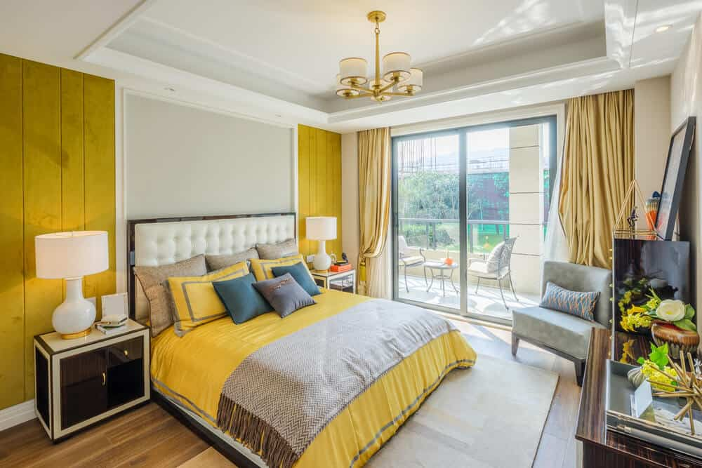 Yellow master bedroom designs.