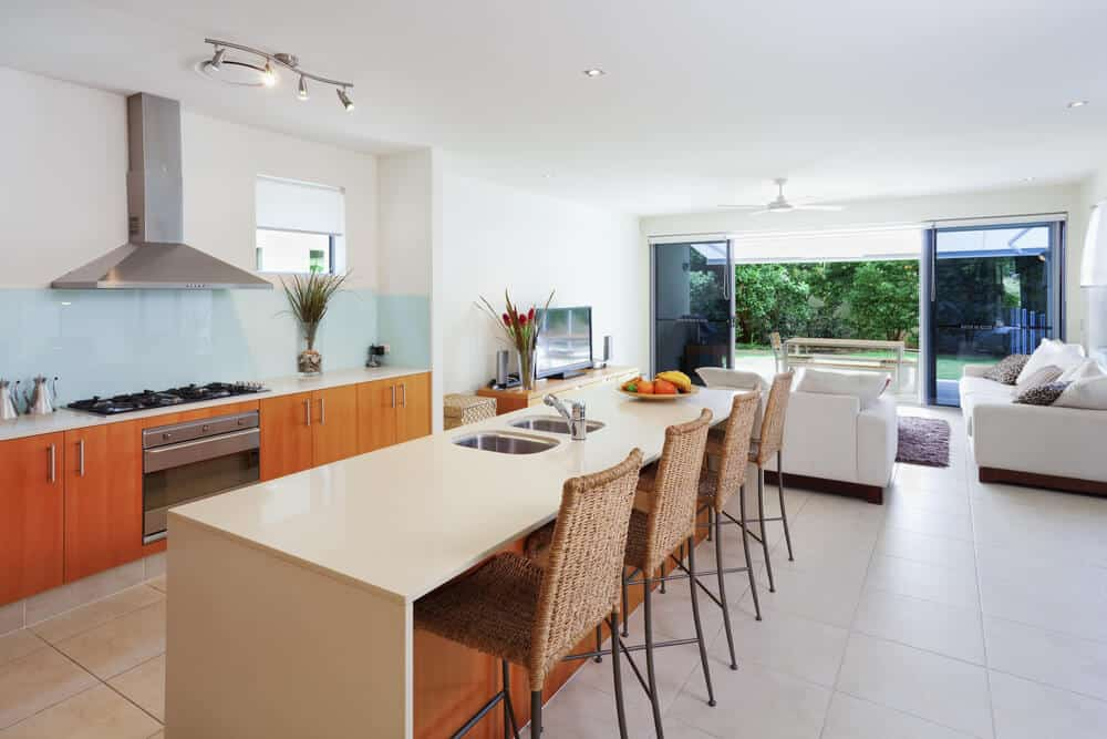 Modern Kitchen Design with Wicker Chairs