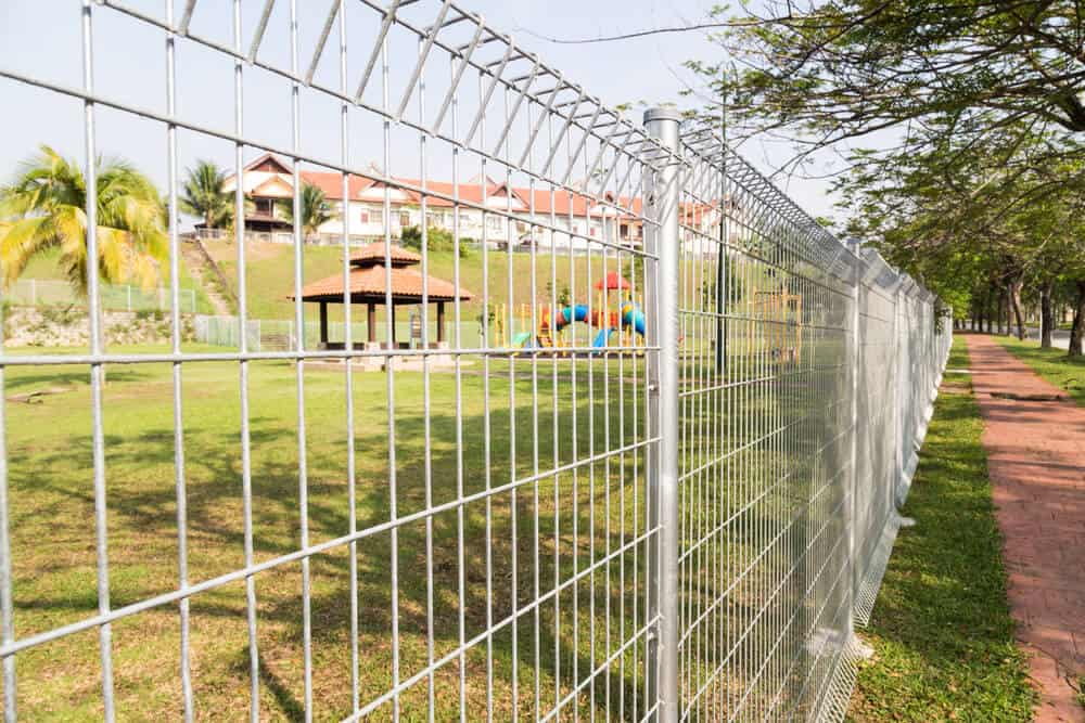 Wire fence panels like these can be purchased and installed quickly and effectively around any property.
