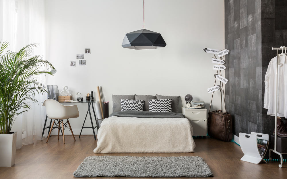 With this room you have mostly white and then an intricate gray wall. It's also accented with a whole lot of gray through the lighting, pillows and even blankets and rug.